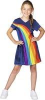 Verkleedjurk K3 Regenboog blauw: maat 134 (6-8 jaar)